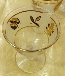 –Retro  6 Libby Gold Leaf Sherbert Glasses*Footed Dessert Dishes