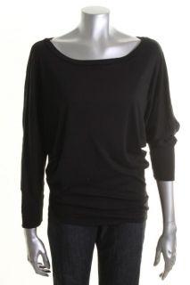 Michael Stars New Black Slub 3 4 Dolman Sleeves Tunic Top Shirt Blouse