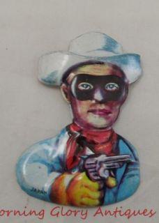 Vintage Tin Japan Lone Ranger Pin Back Badge Excellent