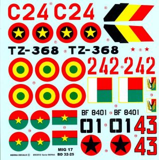 Berna Decals 1 32 Mikoyan MIG 17 Fresco Fighter African Air Forces