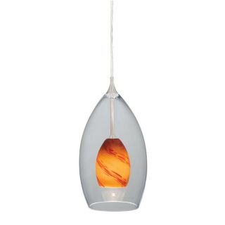 New 1 Light Mini Pendant Lighting Fixture Satin Nickel Clear and Amber