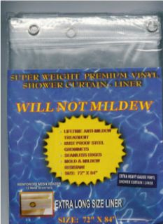 Home Super Clear 10 Gauge Anti Mildew Shower Curtain Liner EXTRA LONG