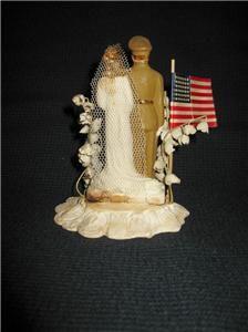 WWII WW2 Military Chalk Plaster Bride Groom Wedding Cake Topper