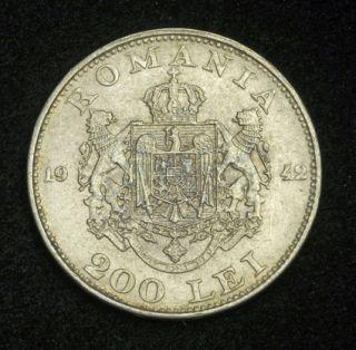 1942/1944, Romania (Kingdom, Mihai I. Silver 200 + 500 Lei Coins. 2pcs
