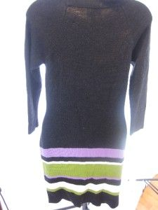 Milly of New York Black Sweater Dress with Purple Green Strips Size S