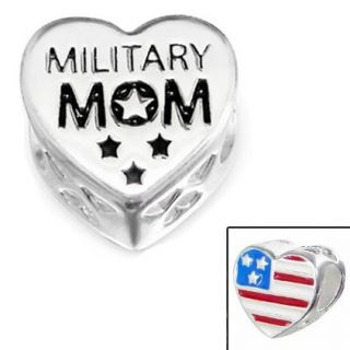 925 Sterling Silver Military Mom Charm Bead with American Flag Fits