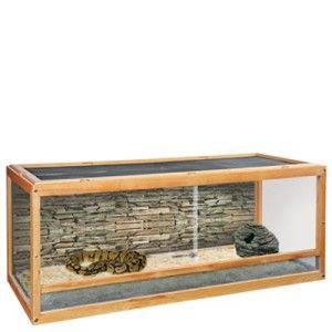 New Wood Frame Glass Snake Cage Reptile Habitat Sliding Doors Aquatic