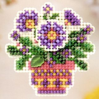 Pot Beaded Cross Stitch Kit Mill Hill 2005 Spring Bouquet