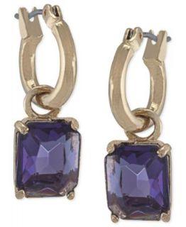 Carolee Earrings, Gold Tone Glass Stone Small Double Drop Earrings