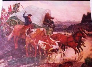 1954 Minden Pharmacy Calendar Minden Nevada Cattle Drive Chuck Wagon