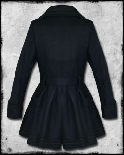 Hell Bunny Millie Navy Blue Black Nautical Sailor Anchor Military Coat