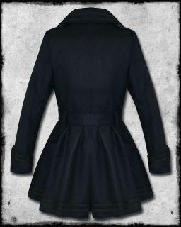 Hell Bunny Millie Navy Blue Black Nautical Sailor Anchor Military Coat