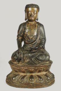 Chinese Ming Dynasty Gilt Bronze Buddha Lotus Leaf Base