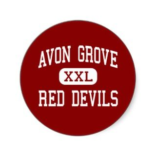 Avon Grove   Red Devils   High   West Grove Round Stickers