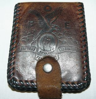Vintage F O E Fraternal Order of Eagles Brown Leather Wallet Stiched