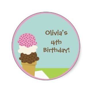 Ice Cream Cone Birthday Party Favor Sticker