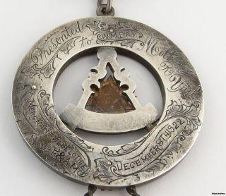 Past Master Vintage Masonic Medal Jewel Sterling Silver C 1922 Masons