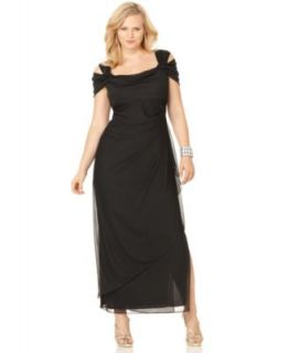 Alex Evenings Plus Size Dress, Cold Shoulder Empire Waist Evening Gown