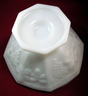 inch diameter Octagon Shaped White Milk Glass Short Pedestal Bowl in