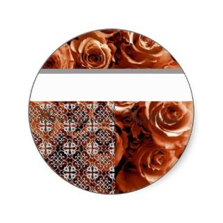ORANGE Roses Wedding Bride & Groom Envelope Seal Round Sticker