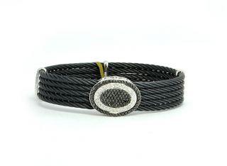 Charriol Cable Bracelet Black White Diamond 1ct 18K White Gold
