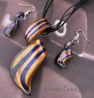Twisty Striped Gold Dust 1set Lampwork Murano Glass Pendant Necklace
