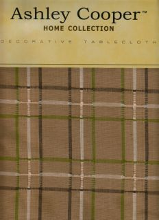 Tan Green White Brown Plaid Mikasa Check Fall Cotton Fabric Tablecloth