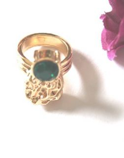 Jewelry New Korea Unique Elegant Style Gold Tone Green Stone Ring Free