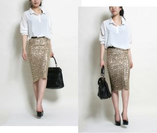 High Waist Style Bandage Sequin Skirt Pencil Line Gold