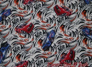 Hot Wheels Blue Red Cars White Curtain Valance New