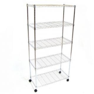 Wire Metal Shelving Storage on Wheels x5 Tier Shelf Kitchen Utility