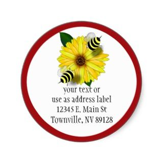 Cartoon Honey Bees Meeting on Yellow Flower Round Sticker