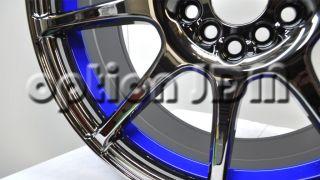 GP Racing Wheels GR8 Black Chrome Blue Underlip 17x7 5x100 114 3