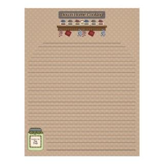 Down Home Cooking Recipe Pages 2 (Lined) Personalized Letterhead