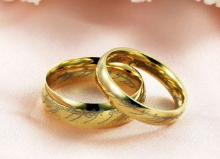 Gold Plated Stainless Steel Lord of The Rings Mens Womens Couple Ring