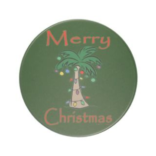 Festive Merry Christmas Palm Tree Drink Coasters