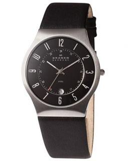 Skagen Denmark Watch, Mens Black Leather Strap 233XXLSLB