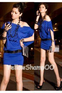 Wide Neck Sexy Mini Dress Blue L XL