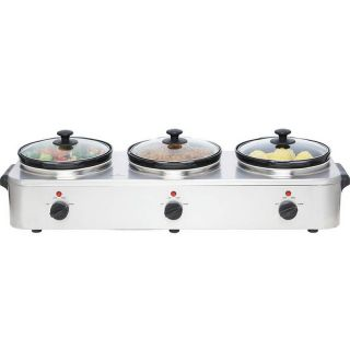 Stainless Steel Triple Slow Cooker + Food Warmer Buffet Server ~ 3