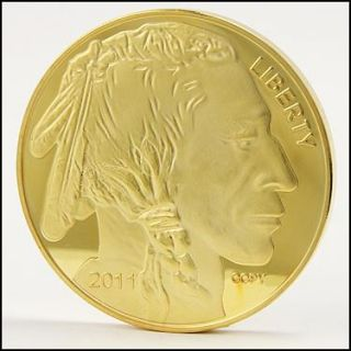 Collectors 24K Gold Plated 2011 Proof Buffalo Head $50 Tribute Coin