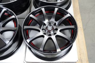 4x100 Black Red 4 Lug Wheels Miata Jetta Golf Accord Cooper CRX Rims