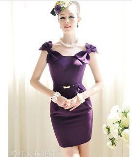 Purple Word Shoulder Slim Temperament Gold Bow Belt Elegant Evening
