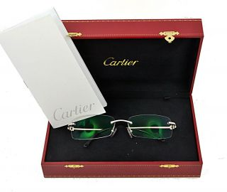 Cartier Solid White Gold Diamond Rimless Glasses Sun RARE Authentic