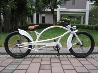Classic Chopper Bike White Frame Black Rims Free Delivery in Australia