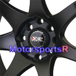 XXR 522 Flat Black Red Stripe Rims Wheels Concave Stance 4x100 +25 ET