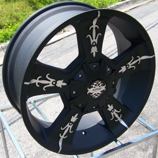 24x9 Black KMC Vandal Wheels Rims Chevy Silverado GMC Dodge 2500 3500