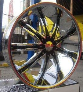 26 Wheels Rims Package Free Tires Dcenti DW29 Triple Chrome Deep Lip