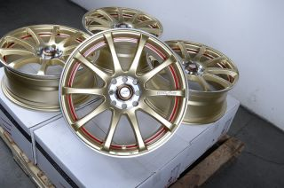 4x100 Wheels Gold Accord Red Civic Integra Miata Cabrio 4 Lug Rims