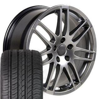 17 Hyper Silver New RS4 Wheels Set of4 Rims ZR Tires Fits Audi A6 A4