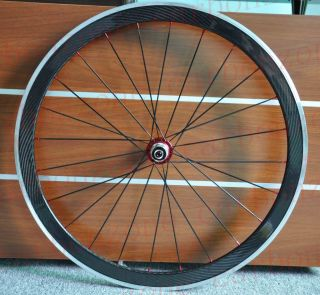 42mm Alloy Carbon Road Bike Clincher Wheels Wheelset Red Hub